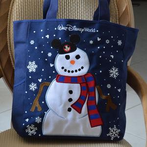 New! Disney World Snowman Holiday Canvas Tote Bag